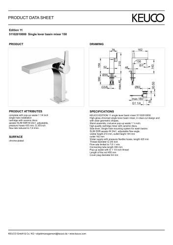 Edition 11 51102010000 Single lever basin mixer 150
