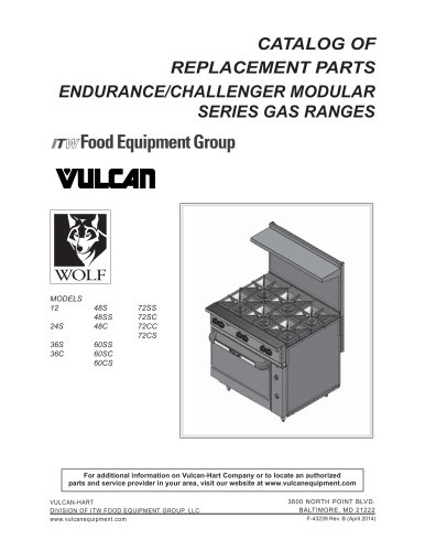 CATALOG OF REPLACEMENT PARTS ENDURANCE/CHALLENGER MODULAR SERIES GAS RANGES