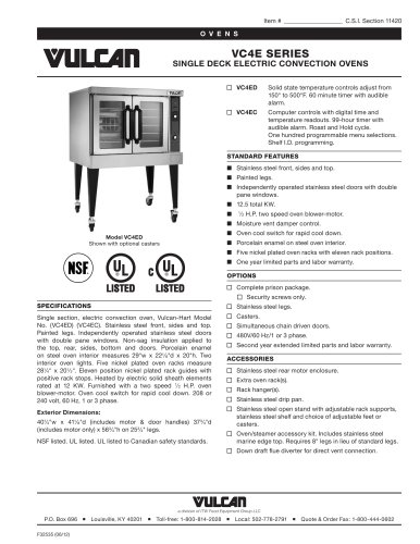 VC4E SERIES SINGLE DECK ELECTRIC CONVECTION OVENS