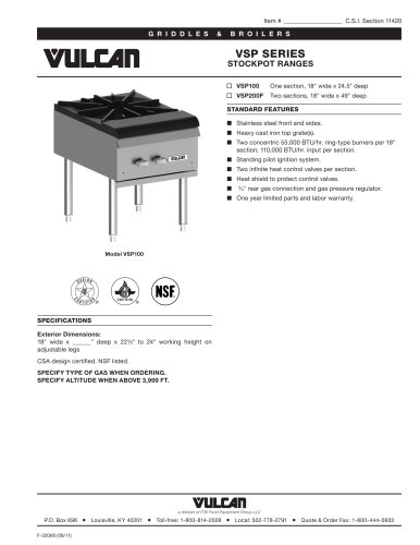 VSP SERIES STOCKPOT RANGES