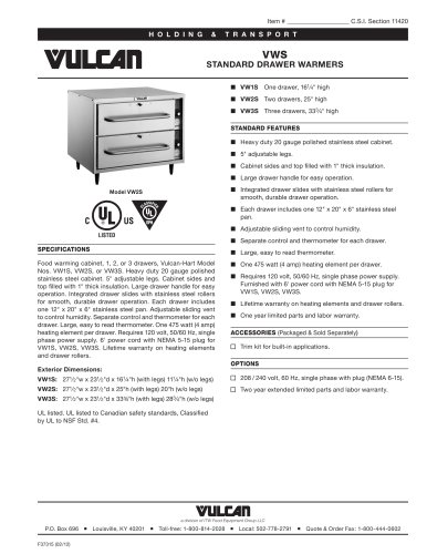 VWS STANDARD DRAWER WARMERS