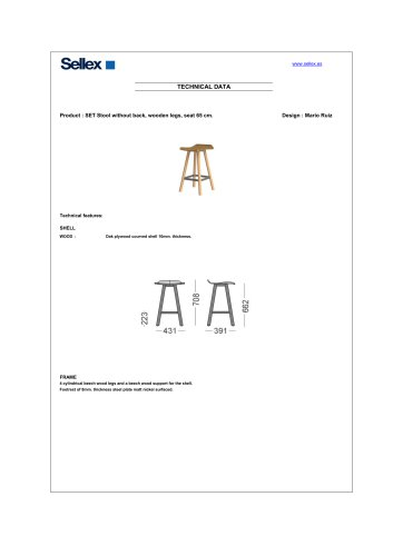 SET Stool without back, wooden legs, seat 65 cm.