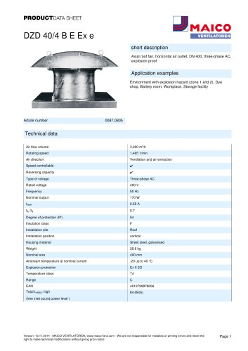 Axial roof fan DZD 40/4 B E Ex e