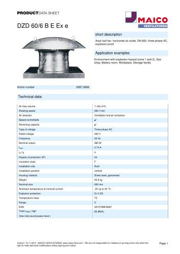 Axial roof fan DZD 60/6 B E Ex e
