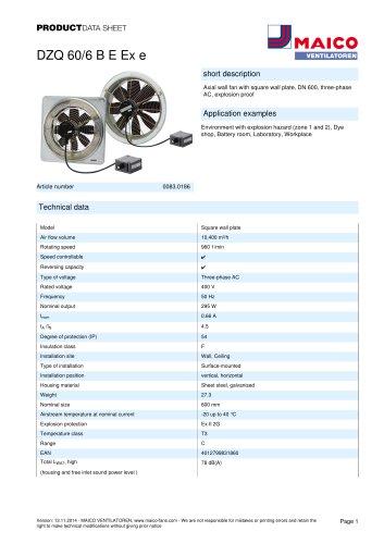 Axial wall fan DZQ 60/6 B E Ex e
