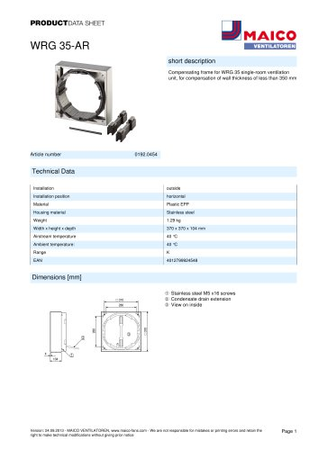 Product data sheet Compensating frame WRG 35-AR