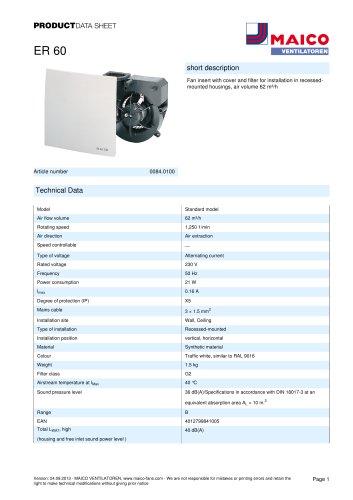 Product data sheet Fan insert ER 60
