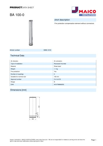 Product data sheet Fire protection compensation element BA 100-0