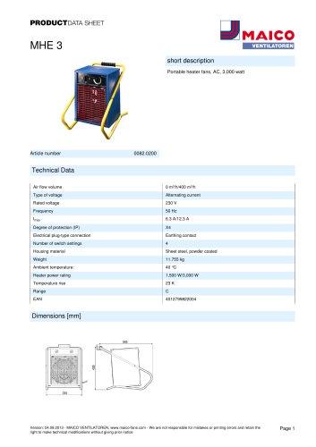 Product data sheet Heater fan MHE 3