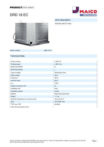 Product data sheet Roof fan DRD 18 EC