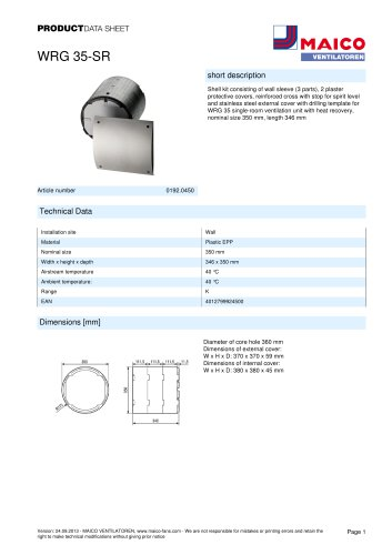 Product data sheet Shell kit WRG 35-SR