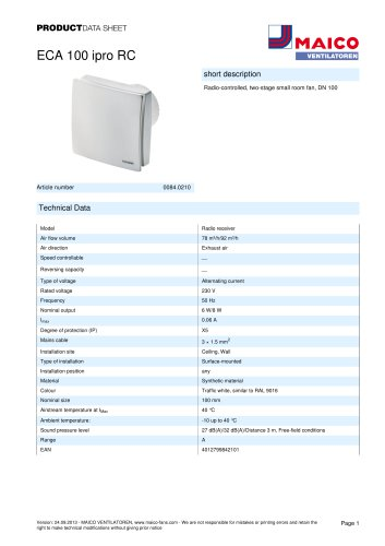 Product data sheet Small room fan ECA 100 ipro RC