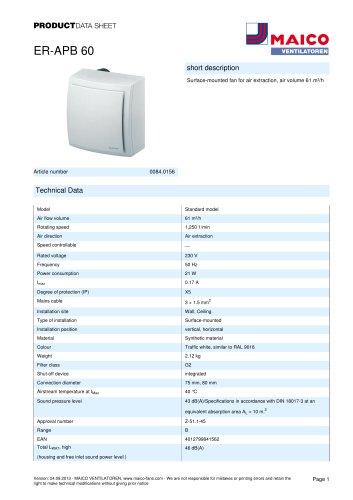 Product data sheet Surface-mounted fan ER-APB 60