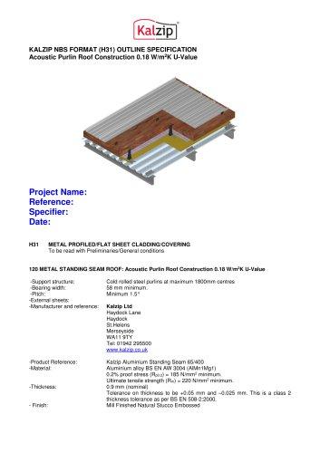 KALZIP NBS FORMAT (H31) OUTLINE SPECIFICATION