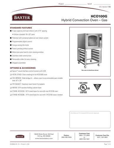HCO100G - Hybrid Convection Oven ? Gas