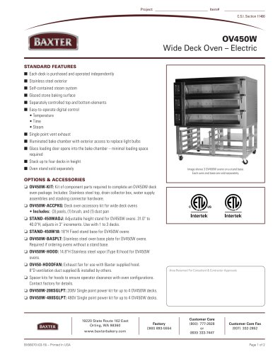 OV450W Wide Deck Oven ? Electric