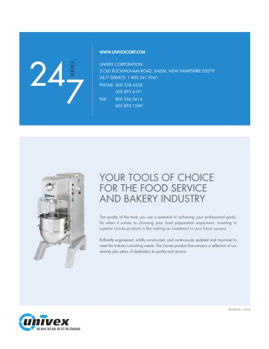 Univex Commercial Food Prep Equipment Brochure