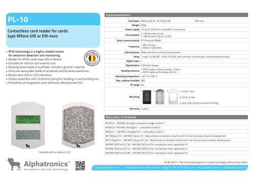 RFID-reader PL-10 - Alphatronics - PDF Catalogs