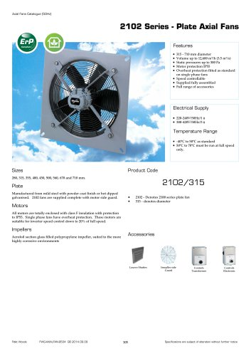 2102 Series - Plate Axial Fans