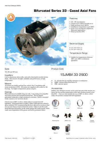 Bifurcated Series 33 - Cased Axial Fans