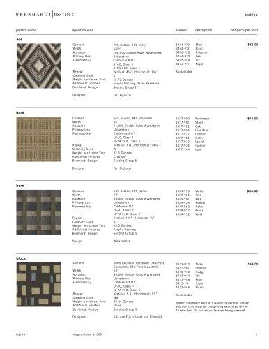 price list: textiles