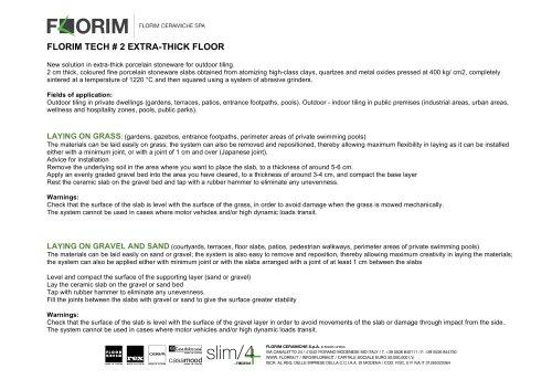 FLORIM TECH # 2 EXTRA-THICK FLOOR