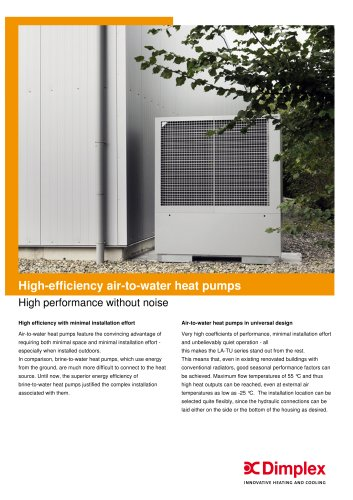 High-efficiency air-to-water heat pumps