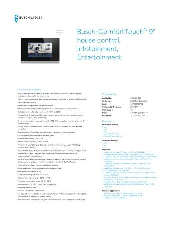 "Busch-ComfortTouch 9"" house control, Infotainment, Entertainment GLASS BLACK"