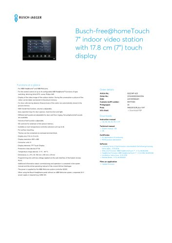 """Busch-free@homeTouch 7"""" indoor video station with 17.8 cm (7"""") touch display BLACK"""