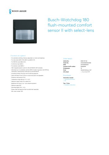 Busch-Watchdog 180 flush-mounted comfort sensor II with select-lens ANTHRACITE