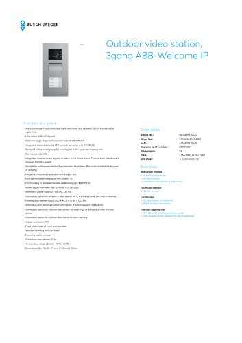 Outdoor video station, 3gang ABB-Welcome IP