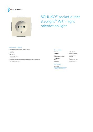 SCHUKO socket outlet steplight With night orientation light IVORY WHITE