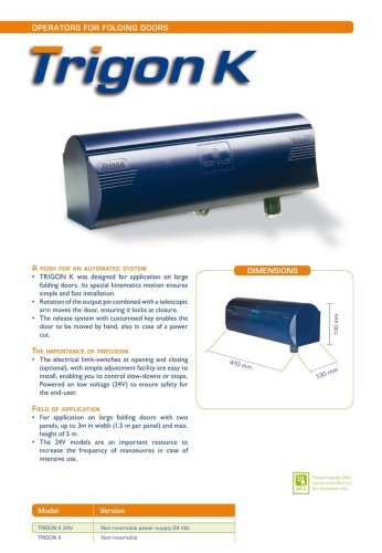 Trigon K - GENIUS - PDF Catalogs | Documentation | Brochures