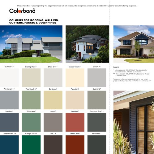 Colours fo roofing