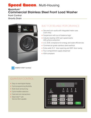 Commercial Stainless Steel Front Load Washer - Gravity Drain