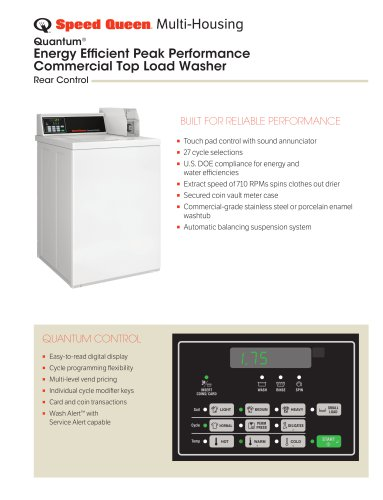 Energy Efficient Peak Performance Commercial Top Load Washer