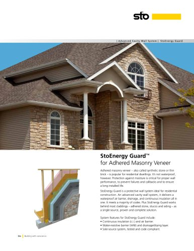 StoEnergy Guard Adhere Masonry Veneer Sell Sheet - S841