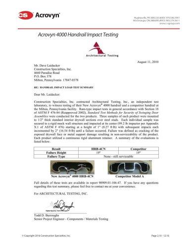 Acrovyn 4000 Handrail Impact Testing