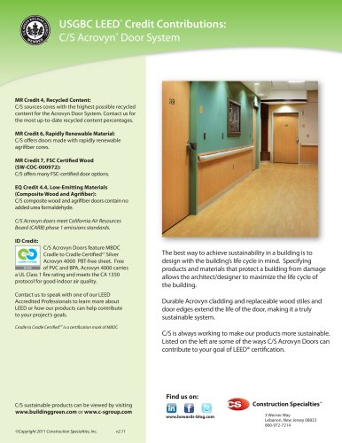 Acrovyn Door System LEED Brochure