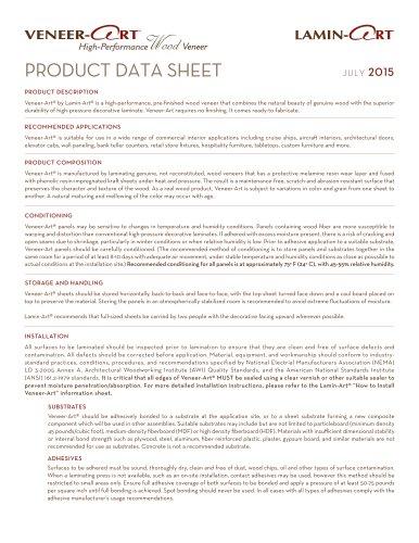 Veneer-Art® PRODUCT DATA SHEET