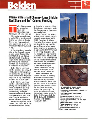 Chemical Resistant Chimney Brick