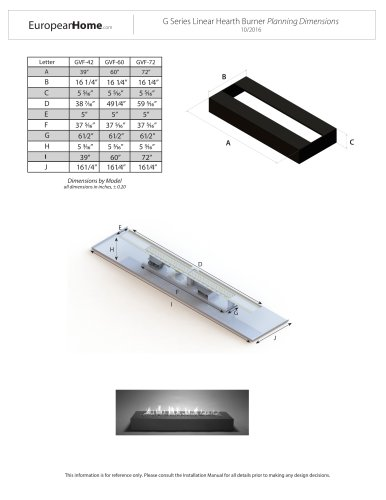 G Series Linear Hearth Burner Planning Dimensions