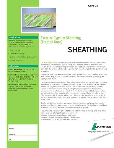 Exterior Gypsum Sheathing (Treated Core