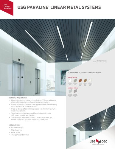 USG PARALINE®  LINEAR METAL SYSTEMS