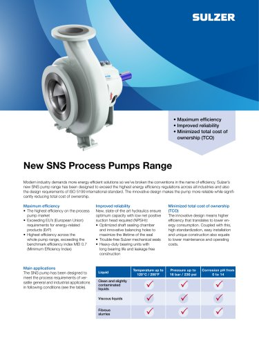 New SNS Process Pumps Range