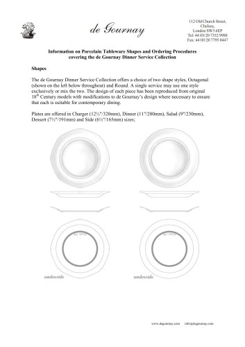Information on Porcelain Tableware Shapes and Ordering Procedures