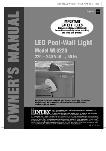 LED Pool-Wall Light Model WL3220