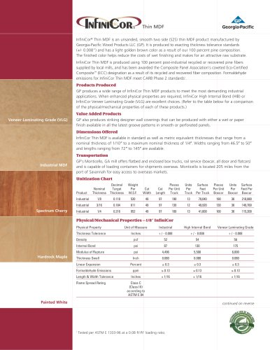 Infinicor® Thin MDF specification sheet
