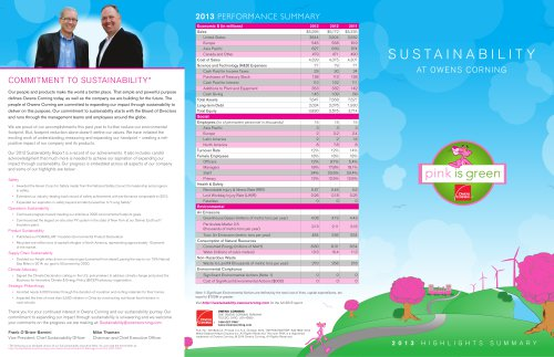 Sustainability at Owens Corning 2013 Highlights