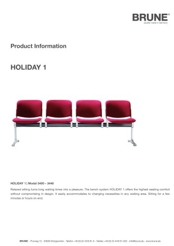 HOLIDAY 1 Model 3400-3448